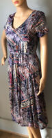 Per Una Womens Fit And Flare Dress V Neck Lined U.K. Size 10 Multicoloured Exc