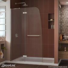"AQUA ULTRA Hinged Shower Door 45 x 72. 5/16"" Clear glass. Brushed Nickel finish."
