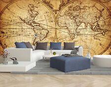WELTKARTE ALT ANTIK BRAUN MAP Fototapete Vlies Tapete xxl Wandtapete10110910-1