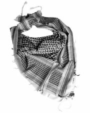 PLO Pañuelo Cuello Chal PALESTINA Shemagh blanco / Negro Camo Bufanda Ejército