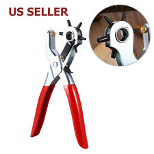 US SHIP 6 Sized Belt Holes Punch Heavy Duty Leather Hole Punch Hand Pliers