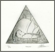 BABY MOSES Original ETCHING Signed Numbered Biblical Bible Scene ArT Print