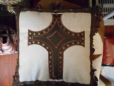 WESTERN CROSS PILLOW HOME DECOR WESTERN HOME OFFICE DECOR SPAGETTI FRINGE 18X18