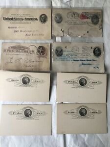 Lot of 8 Antique 1880s - 1900s  U.S. Government Postal Cards