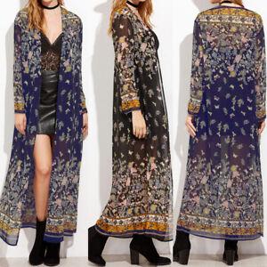 UK Stock Women Summer Floral Cardigan Long Sleeve Long Tops Shirt Kimono Outwear