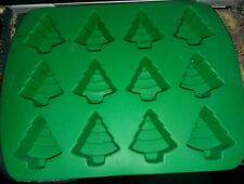 Wilton Silicone Candy/Soap Mold Twelve Tree Mold Green Colored Mold Great Shape