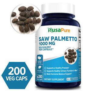 NusaPure Saw Palmetto 1000mg -  200 Veg Caps (Non-GMO & Gluten-free)