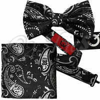 Men's Floral Paisley Bow tie and Pocket Square Hankie Sets Wedding Party Prom
