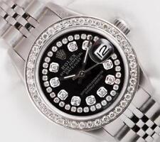 Rolex Lady Datejust Stainless Steel 26mm-Black String Diamond Dial-Diamond Bezel