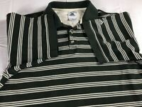 Adidas Originals Polo Shirt VTG 90s Mens Large Green Striped Mercerized Cotton