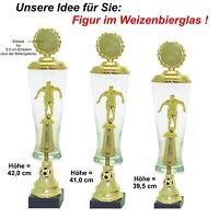 3er Serie Pokale Fussball Figur im Glas-gold (42,0-39,5 cm) mit Gravur 37,95 EUR