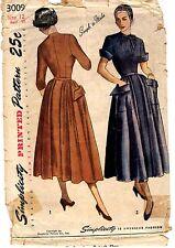 "1940s Vintage Simplicity Sewing Pattern Women's DRESS 3009 Size 12  Bust 30"" CUT"