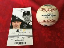 NEW YORK YANKEES BASEBALL AND TICKET FROM 2020 TAMPA SPRING TRAINING.