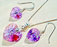Collier En Argent Fin SET w Cristal Élément Swarovski Coeur Violet Violet AB