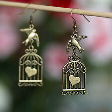 Antique Bronze Flying Bird and Cage Heart Earrings
