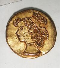 VINTAGE ANTIQUE ITALIAN GOLD GILT LARGE ROUND CAMEO BROOCH ART DECO