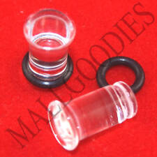 1329 Acrylic Single Flare Clear 2 Gauge 2G Plugs 6mm MallGoodies 1 Pair (2pcs)
