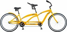 "Adult Tandem Bike 2 Person Bicycle 26"" Dual Drive Whitewall Tires Kulana Yellow"