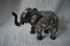 Elephant Ornament Silver Leaf Flower design brown resin statue felt pads figure