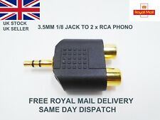 More details for 3.5mm jack rca phono red white audio stereo adaptor music stereo aux gold uk