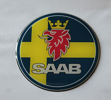 SAAB Sweden Sticker/Decal - 62mm DIAMETER HIGH GLOSS DOMED GEL FINISH