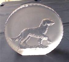 ART GLASS Ornament - Red Setter Dog Design - Frosted - From Sweden 1978  EC