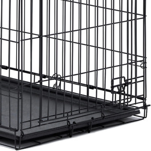 Replacement Pan Dog Crate Leakproof Double Door Folding Metal High-Quality Black