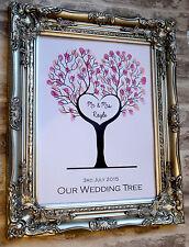 A3 Personalized Wedding heart shape fingerprint tree Print, Ink pad & poem card