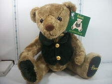 "Plush Harrods Bear Rodney 15"" Articulated Paper Tag Attached Green Velvet Vest"