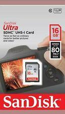 SanDisk Ultra 16gb 80mb/s SD Card SDHC Memory Card for Digital Camera Class 10