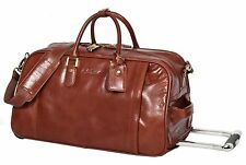 REAL LEATHER Wheeled Holdall Telescopic Handle Weekend Cabin Trolley Bag Cognac