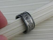 Black Zirconium Wide Celtic Knot & Claddagh Wedding Ring Band Size 6.5 Lashbrook