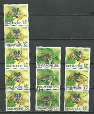 Singapore 1995 Insects Dragonflies Cricket Cicada Bees Bugs Flowers 3 strips 5&3