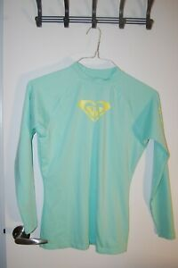 Roxy PASTEL GREEN XL 14 Enjoy Waves Long Sleeve Rashguard Women's SWIM SHIRT GUC