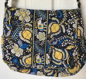 Vera Bradley Ellie Elephants Messenger Diaper Bag Blue Yellow Paisley