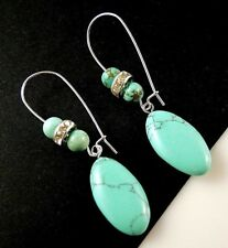Turquoise Horse Eye Gemstone Dangle Earrings with Gemstone Beads #1361