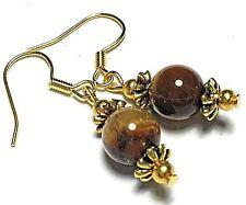 Gold Earrings Tigers Eye Gemstone Beads Hooks, Clip On or Butterfly Studs