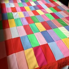 Vintage Polyester Quilt Topper Bright Summer Colors Hand Sewn 80�x60� Unfinished