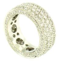 18k White Gold 4.40ctw VS1 F Diamond Pave Set Wide Eternity Band Ring Sz 6