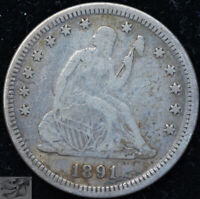 1891 Liberty Seated Quarter, Very Fine Condition, Free Shipping in USA, C5109