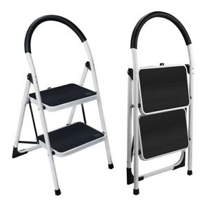 2 Step Stool Household Round Armrest Folding Stepladders Anti-Slip Pedal Ladder