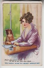 POSTCARD - Fred Spurgin, lady writing to soldier sweetheart, Inter-Art #1131