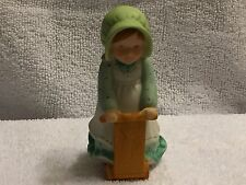 """Holly Hobbie Ceramic Little Girl on Wooden Scooter """"What fun!"""" (1984)"""