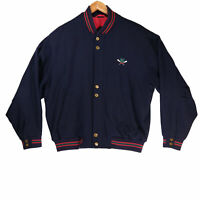 Gant Men's Navy Blue Wool Blend Varsity Bomber Jacket - Size Large
