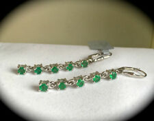 Leverback Emerald Round Not Enhanced Fine Earrings