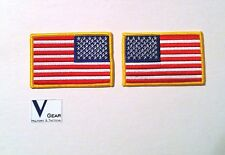 """US USA American Flag UNIFORM patch LOT of 2 LEFT & RIGHT GOLD 3.5"""" x 2.25"""""""