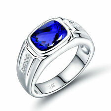 14K White Gold Natural Tanzanite Gemstone Diamond Men's Wedding Ring Jewelry