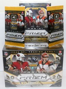 2020 Panini Prizm NFL Football Mega Box + Blaster Box + 2 Gravity Feed Packs Lot