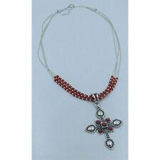925 Liquid Sterling Silver Genuine Red Mediterranean Coral Cross Necklace
