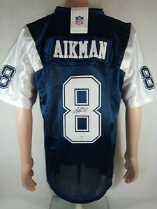 TROY AIKMAN SIGNED (HOF) COWBOYS 75th ANNIV. MITCHELL & NESS BLUE JERSEY W/COA